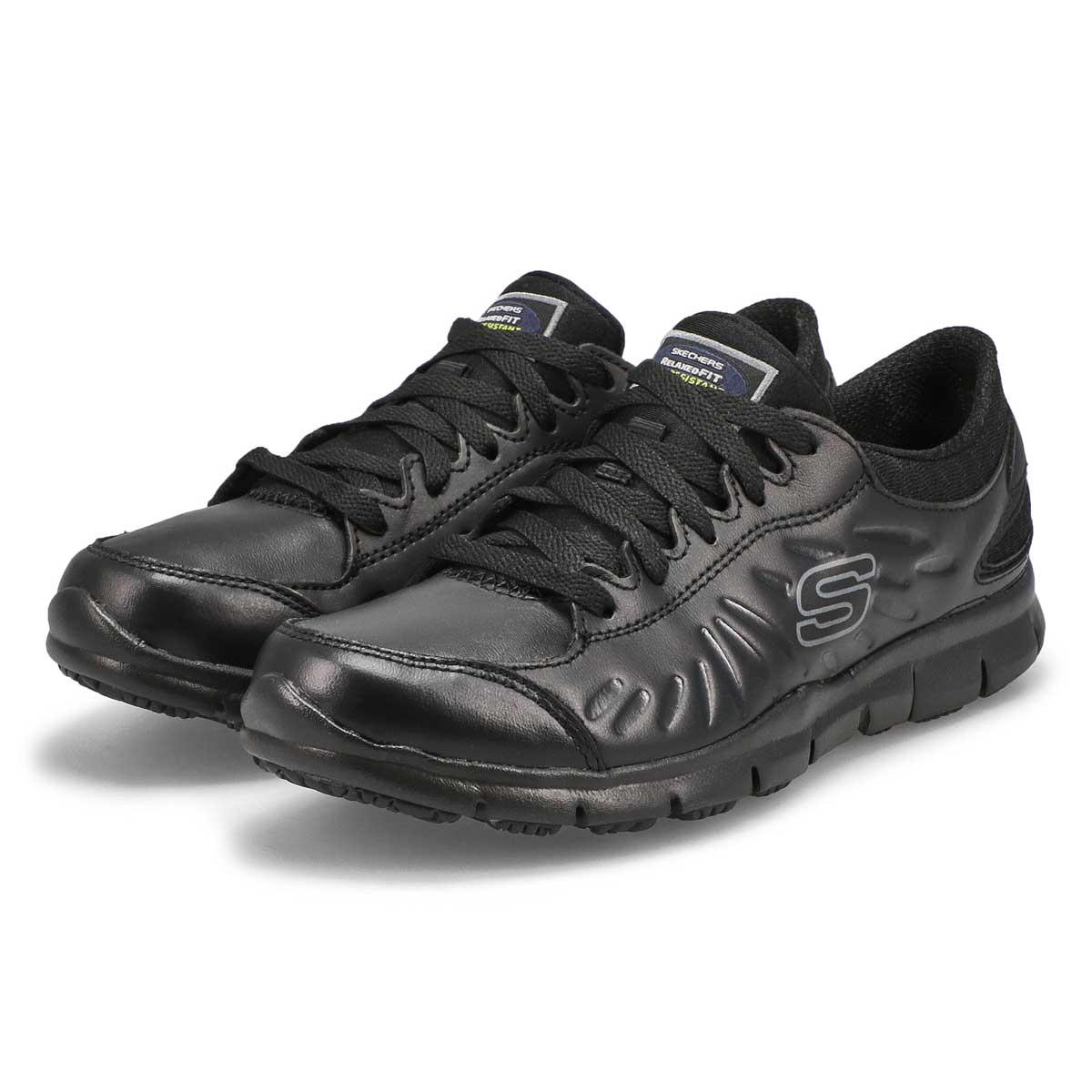Lds Eldred black slip-resis lace-up work