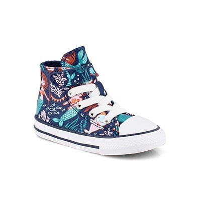 Inf-g CTAS Mermaid navy/mlti hi top snkr