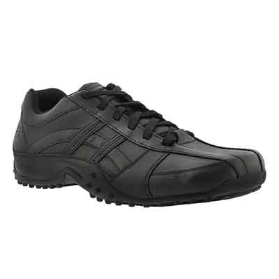 Mns Systemic blk leather non-slip oxford