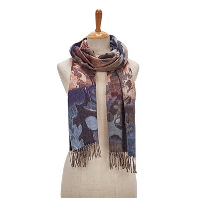 Lds Autumn Floral denim scarf