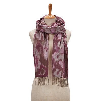 Lds Ikat Floral light rose scarf
