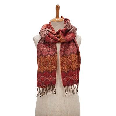 Lds Geo Stripe burgundy scarf