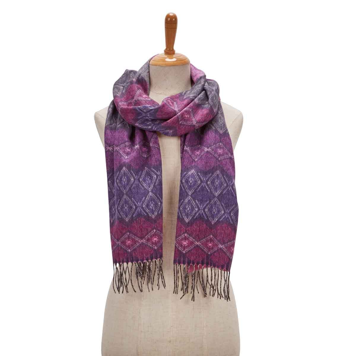 Women's GEO STRIPE plum scarf