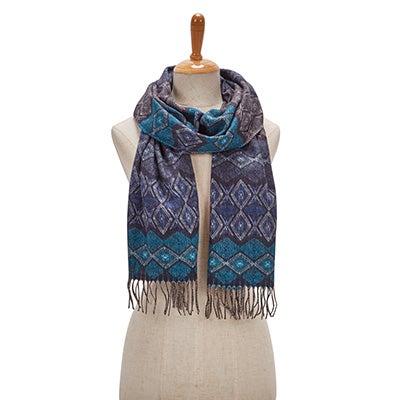 Lds Geo Stripe navy scarf