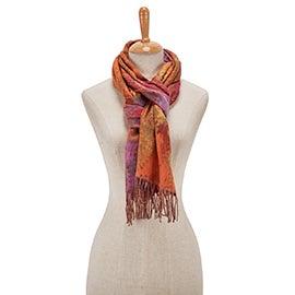 Lds Multi Paisley fuchsia scarf