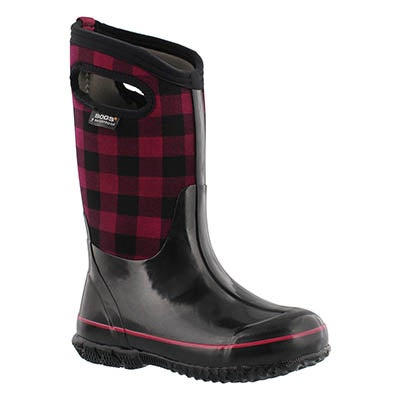 Bogs Girls' CLASSIC BUFFALO PLAID red boots