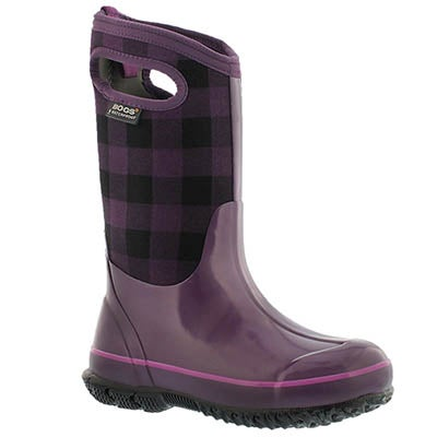 Bogs Girls' CLASSIC BUFFALO PLAID purple boots