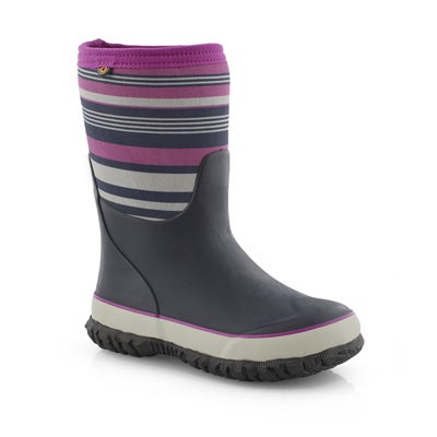 Grls Stomper Bold Stripe blu/mlt wp boot