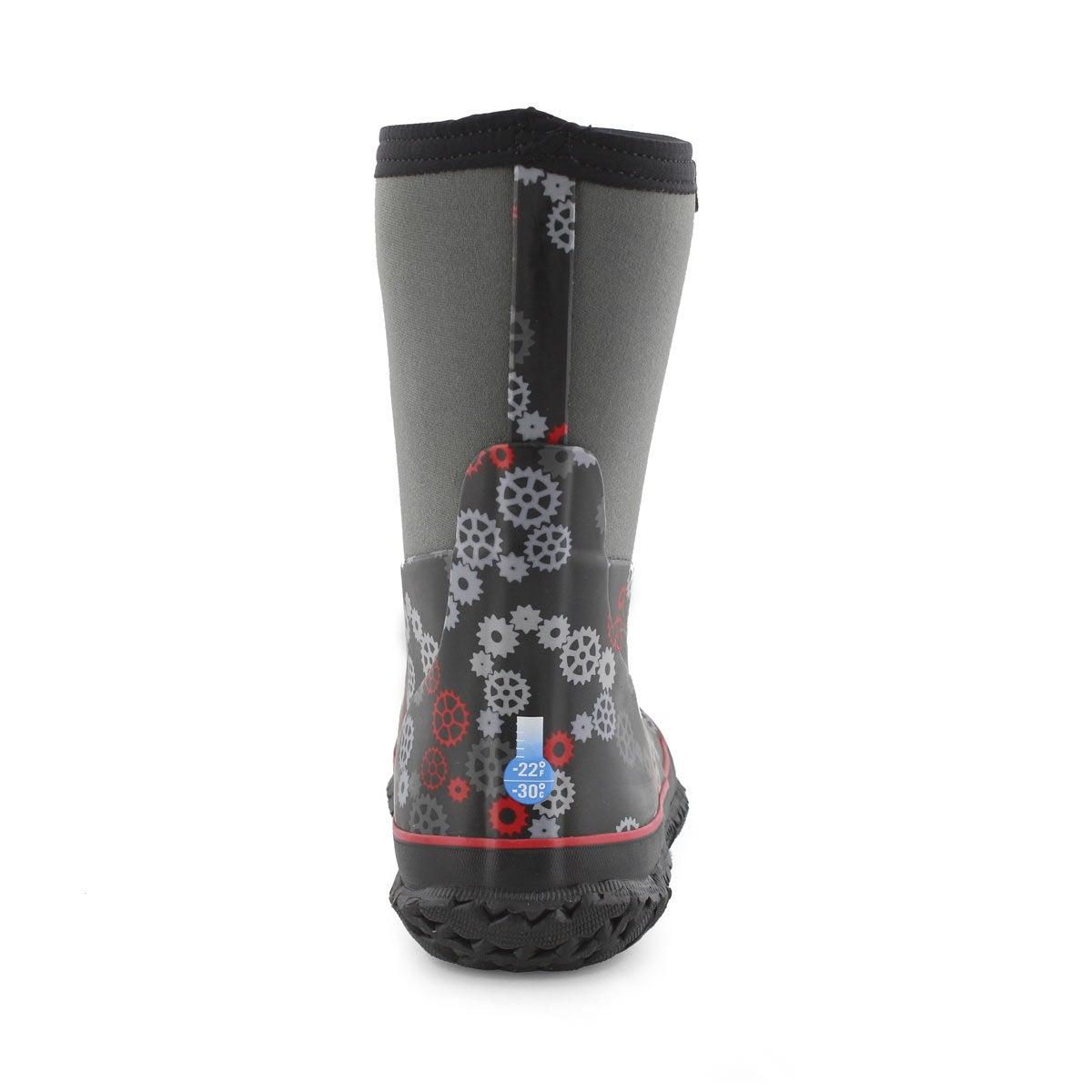 Boys' STOMPER GEARS blk/red waterproof boots