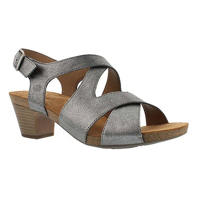 Josef Seibel Women's RUTH 15 silver cross strap dress sandals