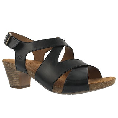 Josef Seibel Women's RUTH 15 black cross strap dress sandals