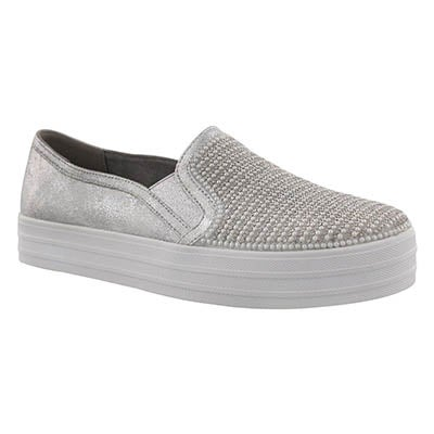 Lds Double Up Shiny Dancer slvr slip on