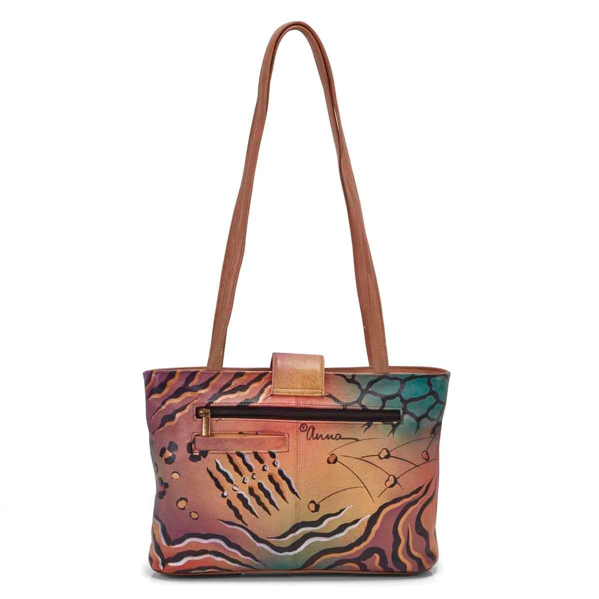 Painted lthr Animal Flower tote bag
