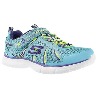 Skechers Girls' ECSTATIX blue/purple bungee sneakers