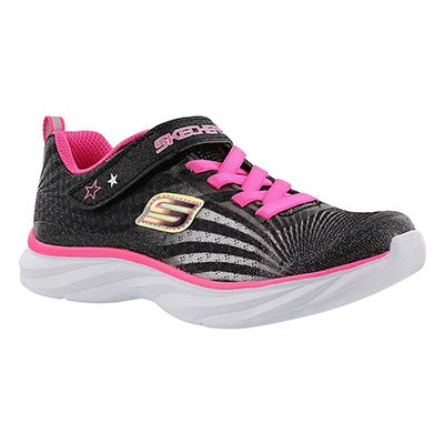 Skechers Girls' COLORBEAM black/pink printed sneakers