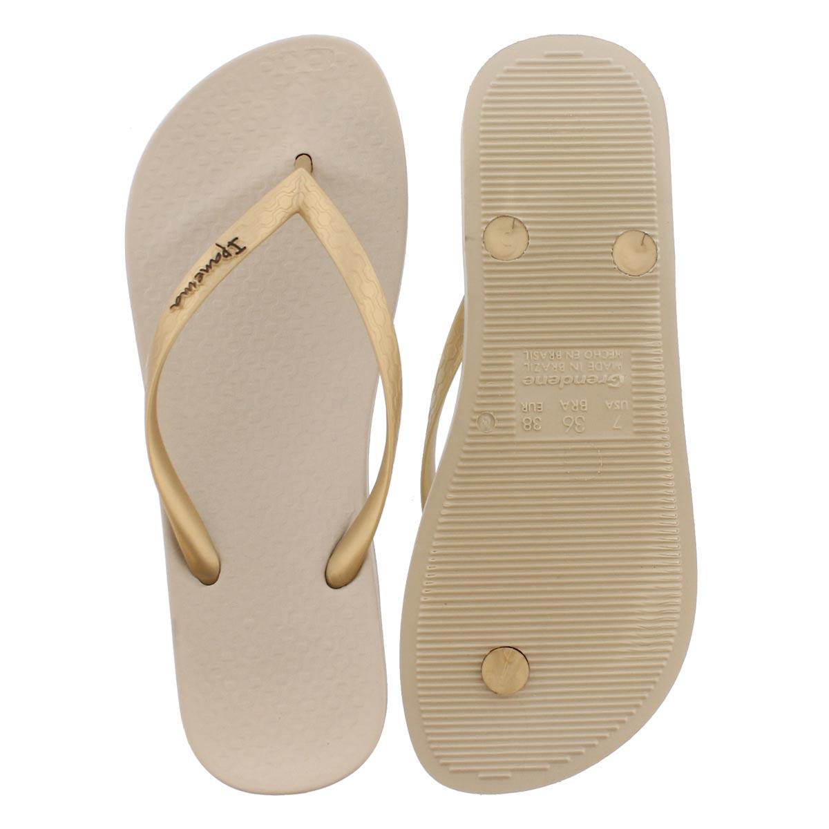 Lds Anatomica Tan beige/gold flip flop