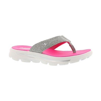 Skechers Girls' GOwalk MOVE SOLSTICE grey/pink thongs