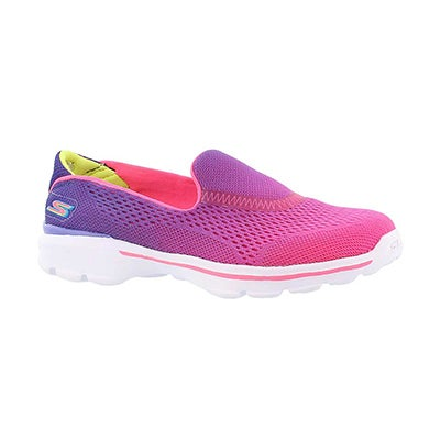 Skechers Girls' GOwalk 3 purple/pink ombre slip ons