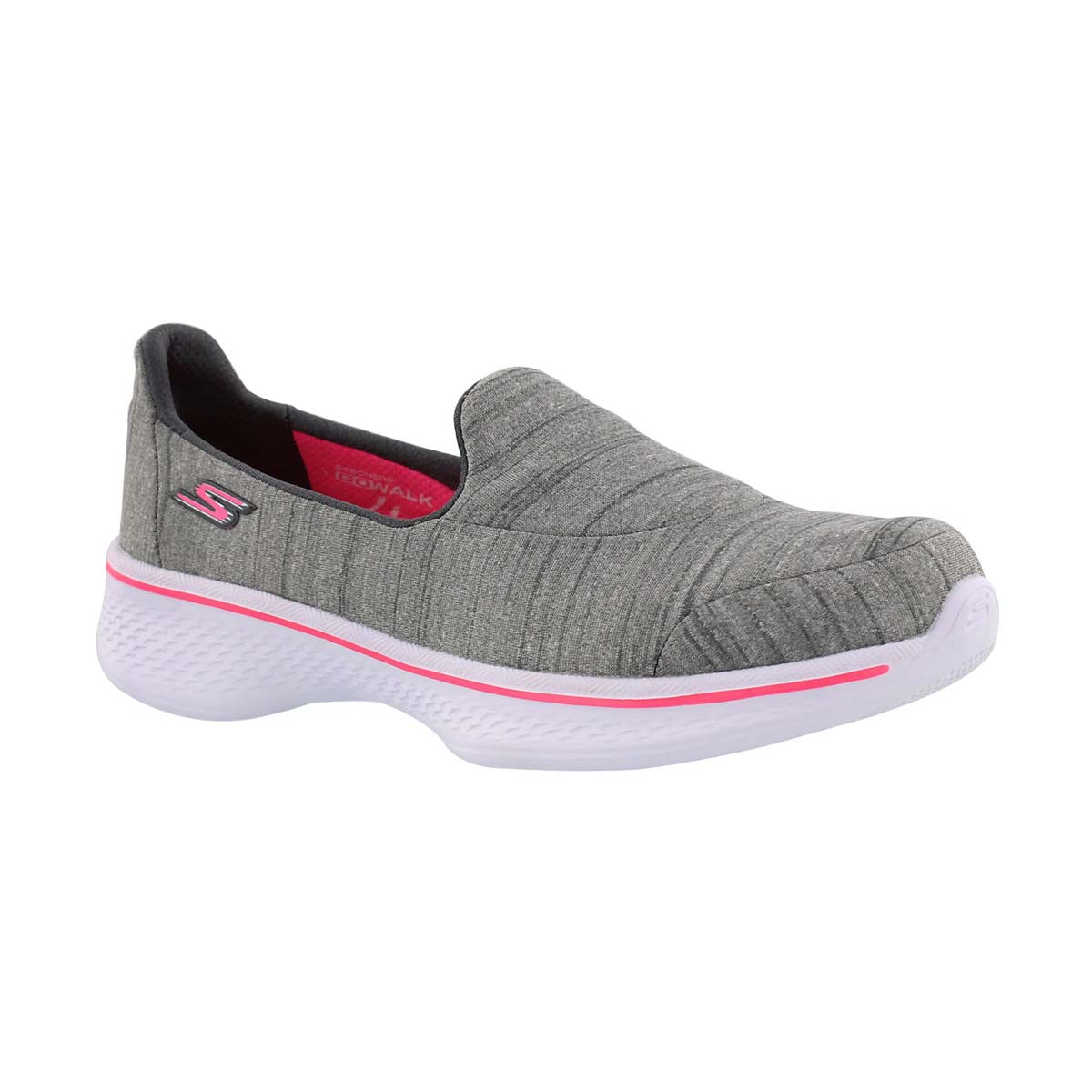 Girls' GOwalk 4 SATISFY grey slip on sneakers