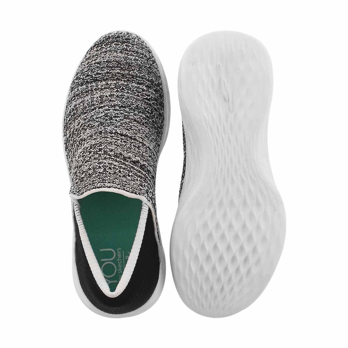 Grls You blk/wht slip on shoe