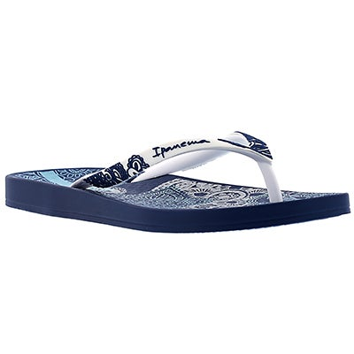 Ipanema Women's LACE blue/white printed flip flops
