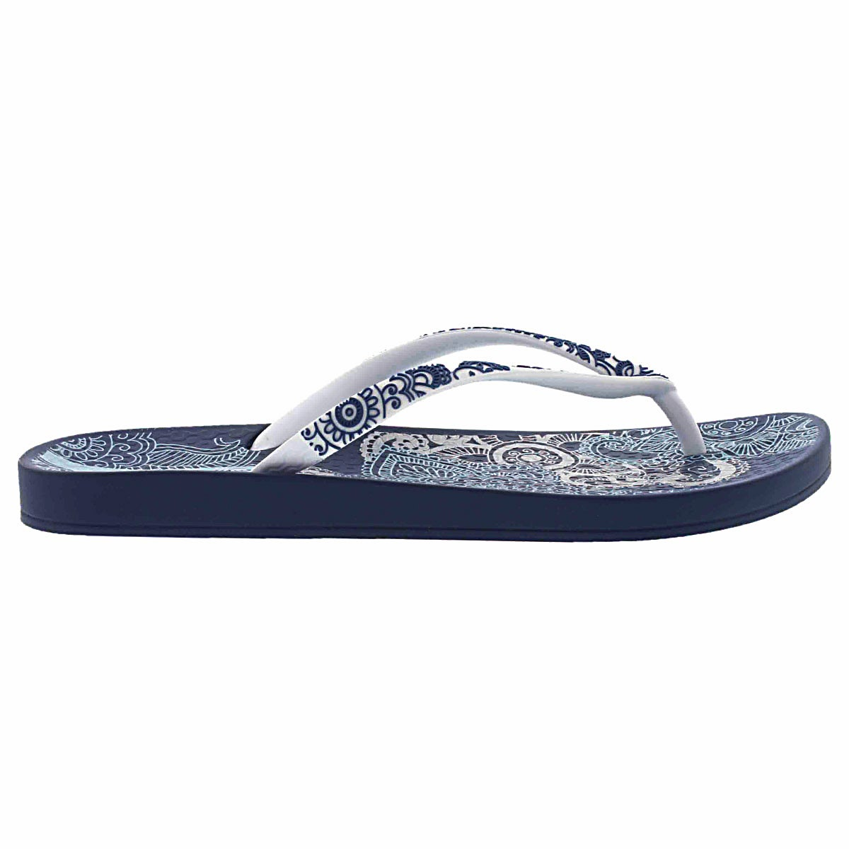 Lds Lace blue/white printed flip flop