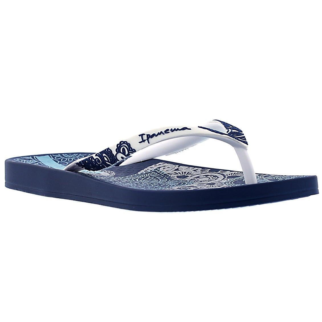 Lds Lace blue/white printed flip flop