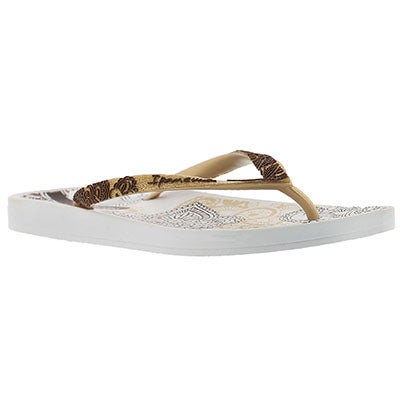 Ipanema Women's LACE white/gold printed flip flops