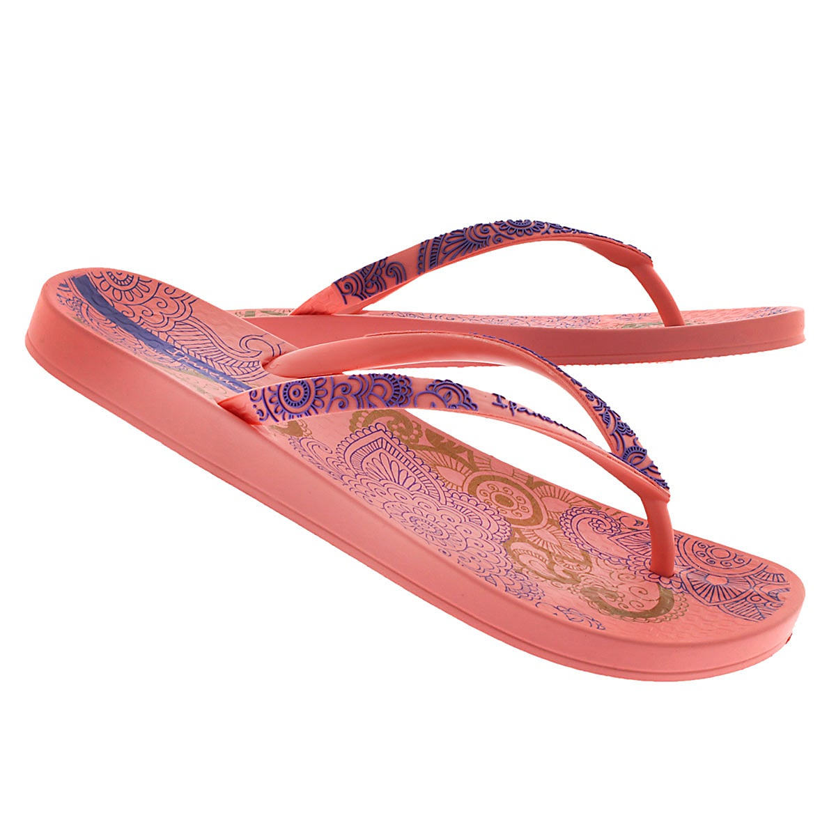 Lds Lace pink/purple printed flip flop
