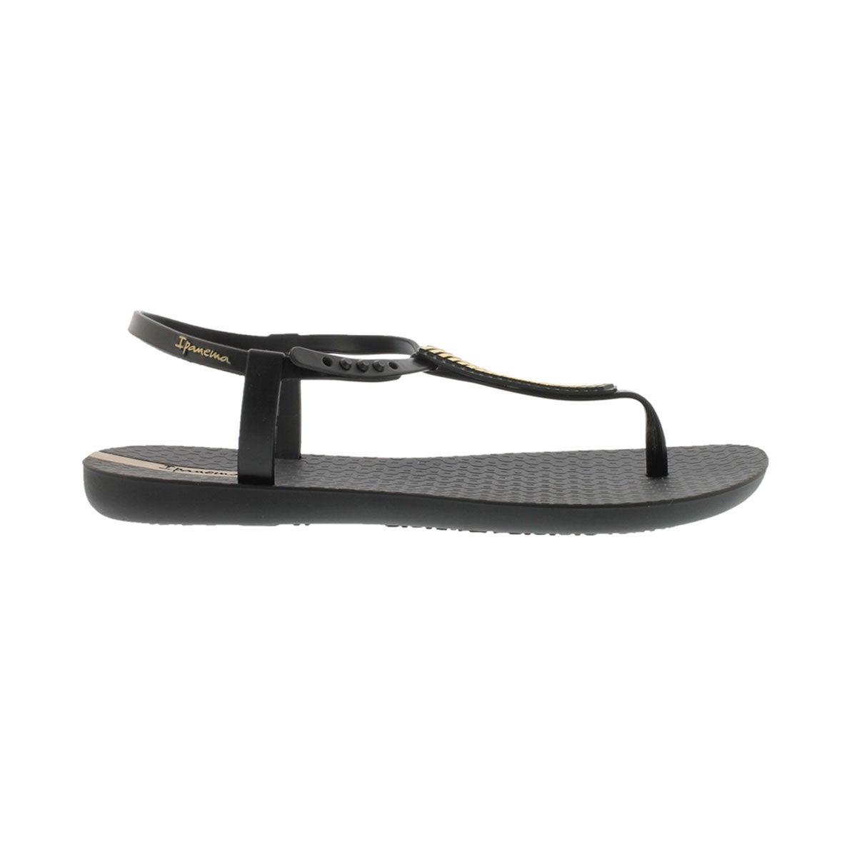 Lds Eva black/gold t-strap sandal