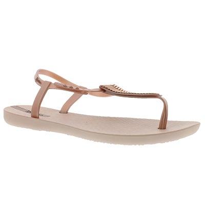 Lds Eva pink/bronze t-strap sandal