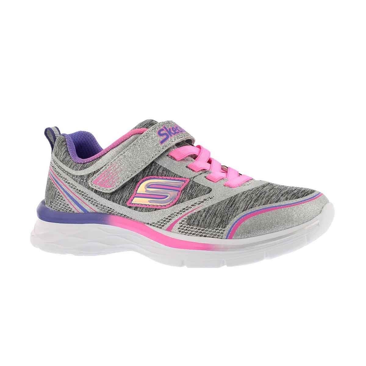 Girls' DREAM N' DASH grey/pink glitter sneaker