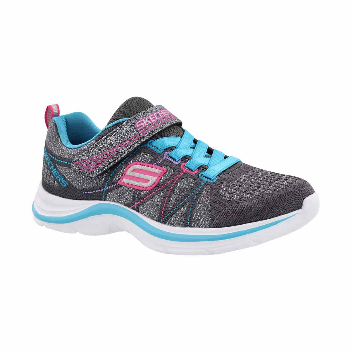 Girls' SWIFT KICKS blue/multi sparkle sneakers