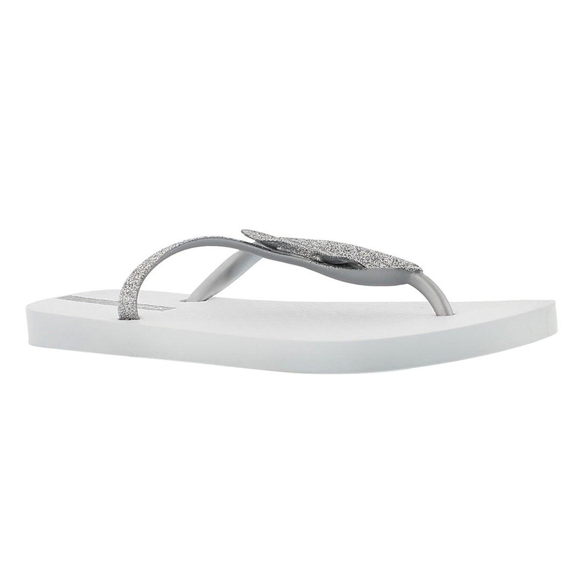 Women's LOLITA II white bow detail flip flops