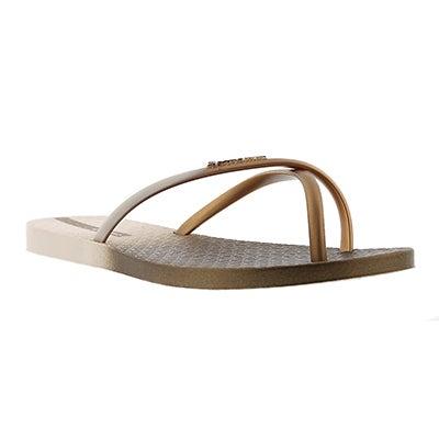 Lds Sunset beige/gold toe ring sandal