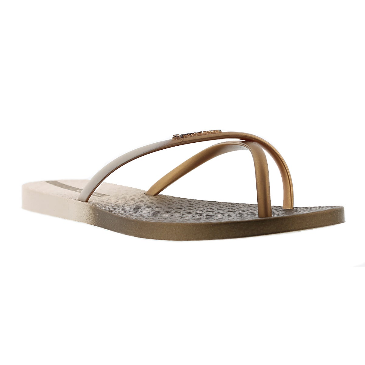 Lds Sunset beige/gold toe ring sandal
