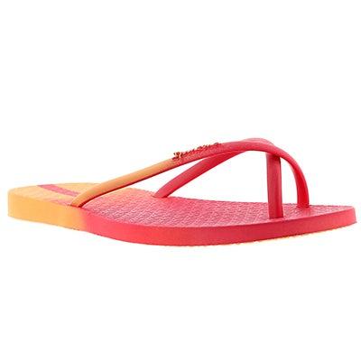 Lds Sunset orange/pink toe ring sandal