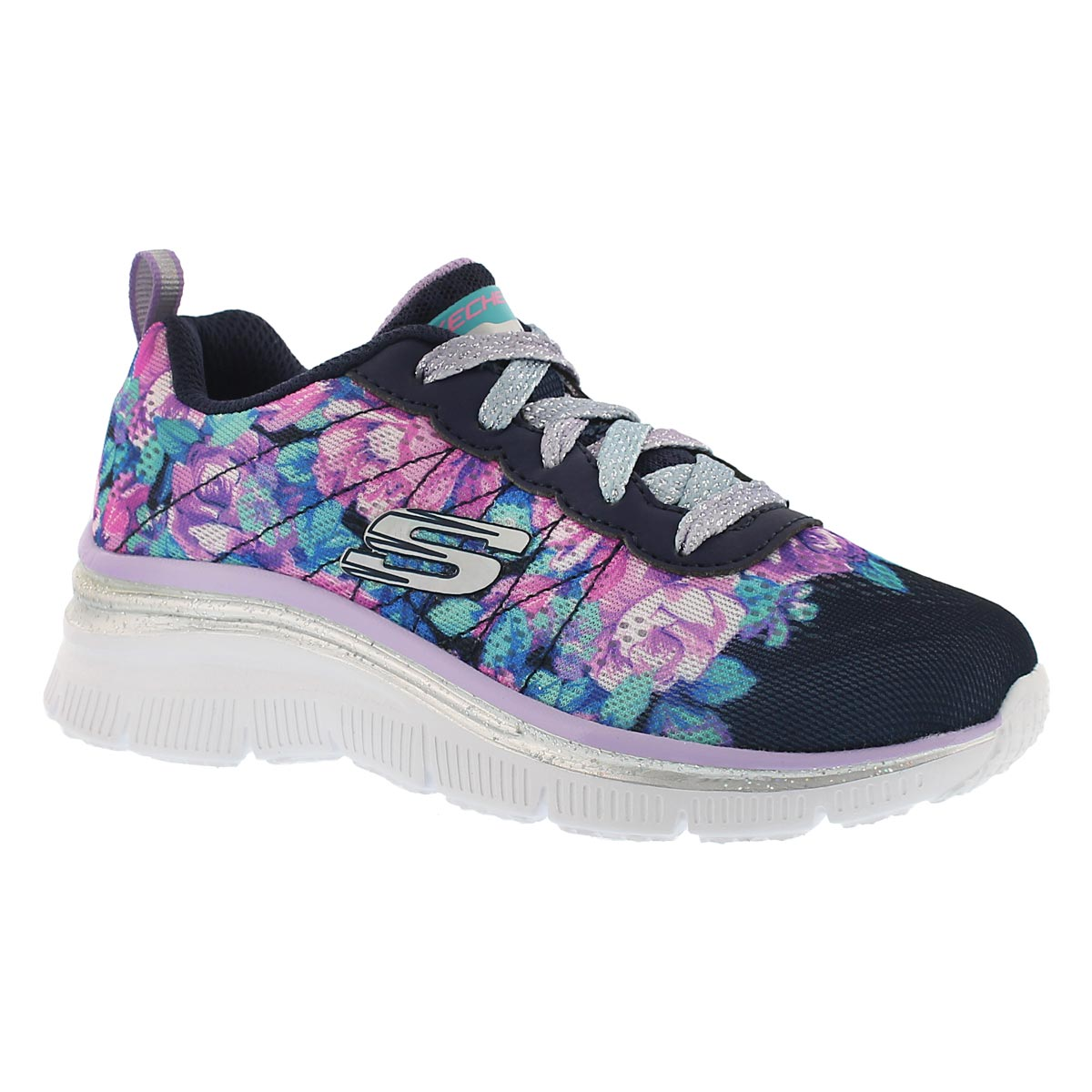 Grls Fashion Fit nvy/multi wedge sneaker