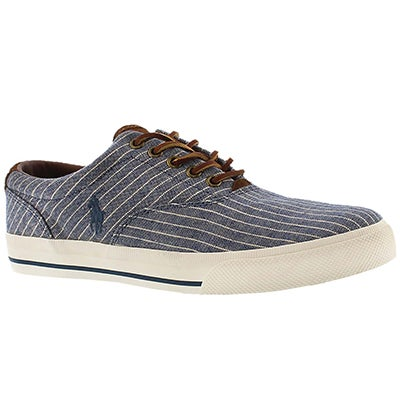 Polo Men's VAUGHN navy striped canvas sneaker