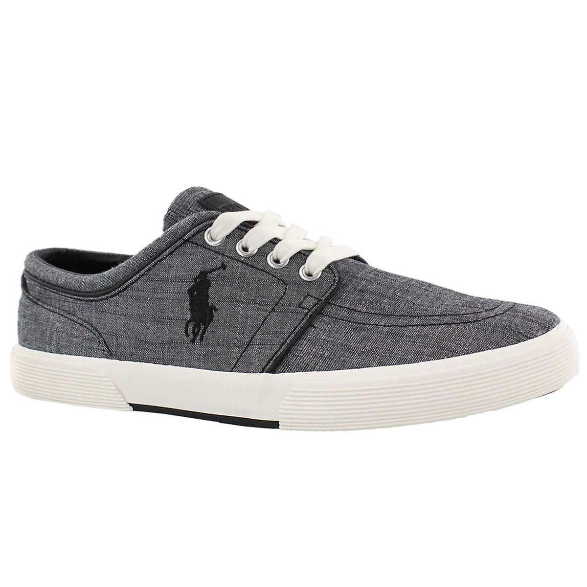 Men's FAXON LOW faded black chambray sneakers