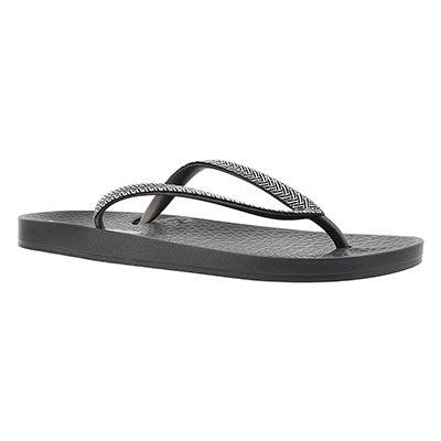 Lds Mesh Fem grey/silver flip flop