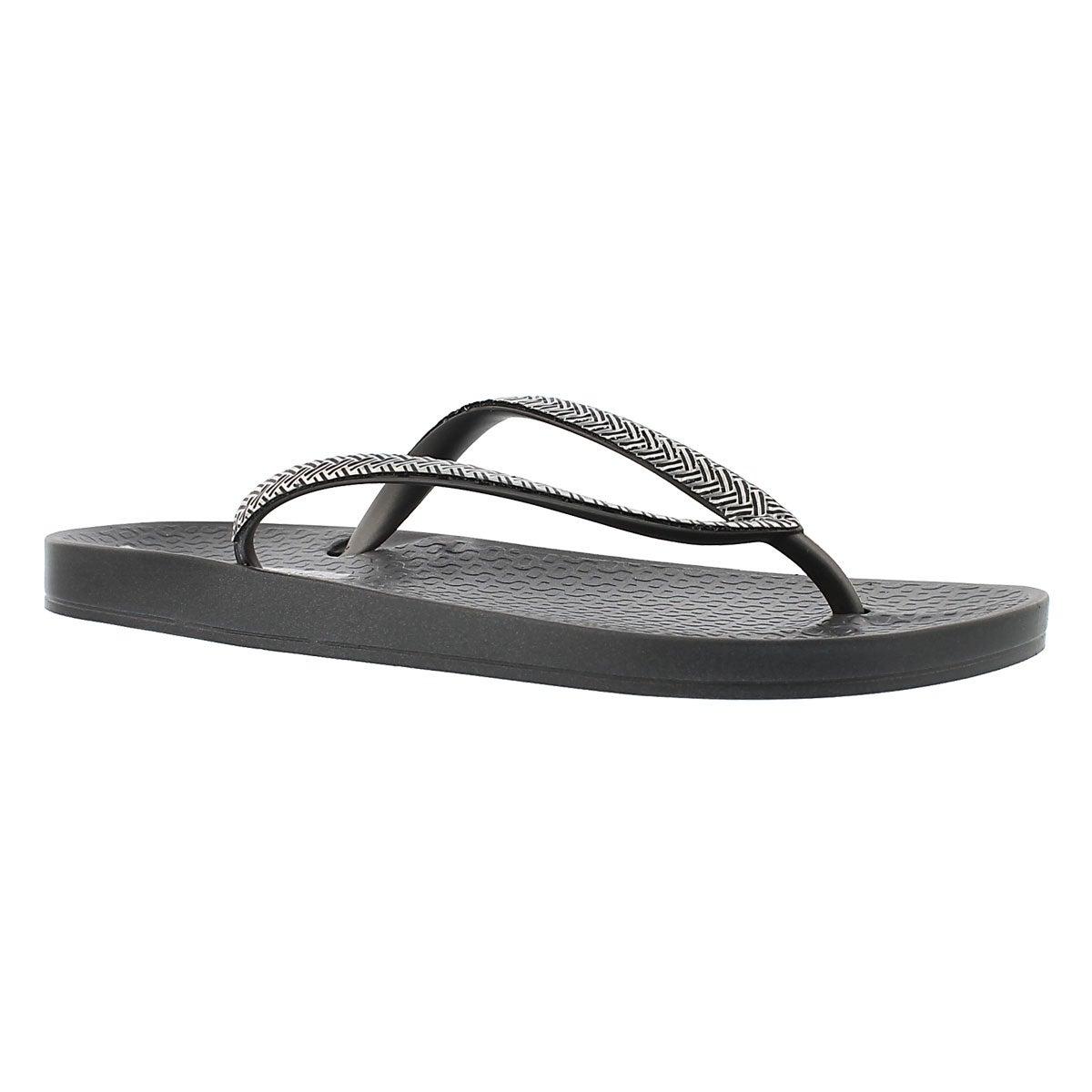 Women's MESH FEM grey/silver flip flops