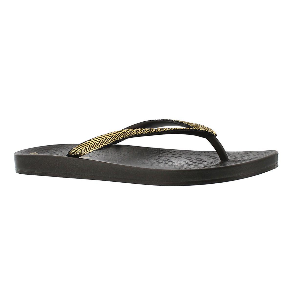 Sandale tong MESH FEM, noir/or, femmes