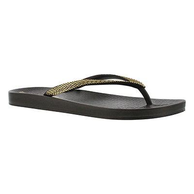 Lds Mesh Fem black/gold flip flop