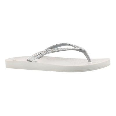 Lds Mesh Fem white/silver flip flop