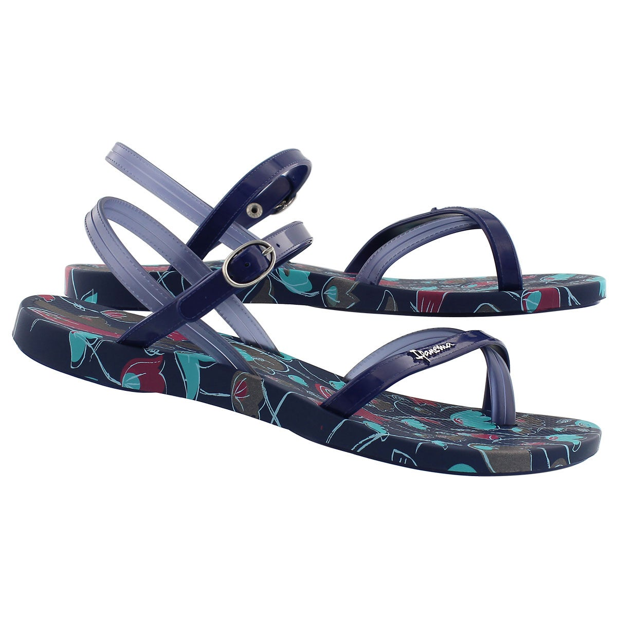 Lds Sand blue printed toe loop flip flop
