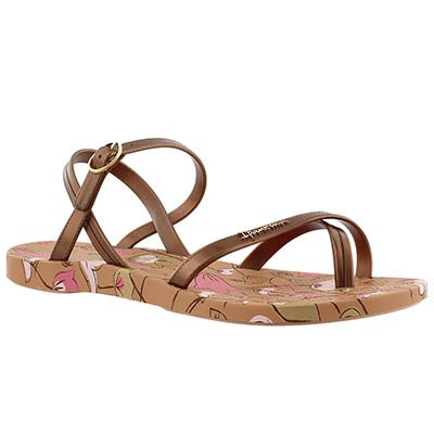Ipanema Women's SAND brown printed toe loop flip flops