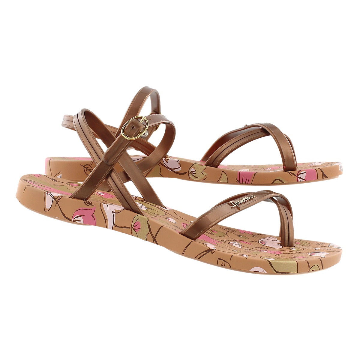 Sandale passe-orteil Sand, imp brun, fem