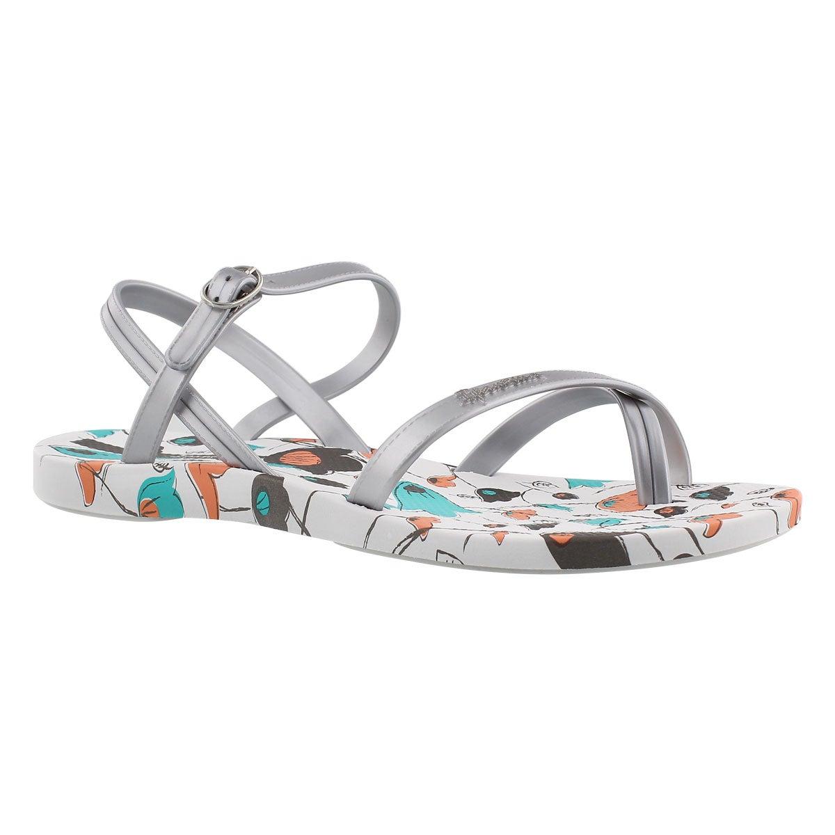 Women's SAND white printed toe loop flip flops