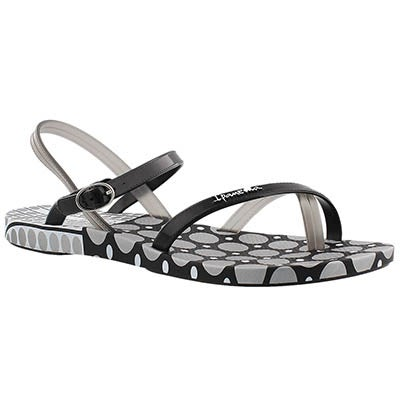 Ipanema Women's SAND black/white dot toe loop flip flops